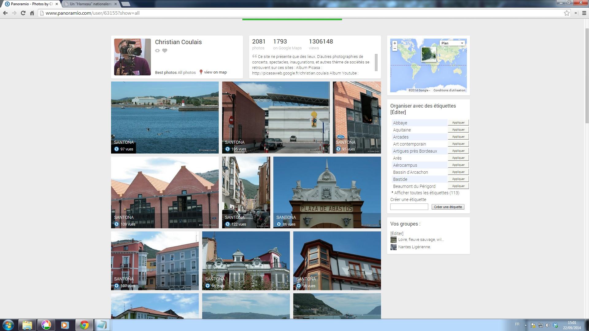 Mon site Panoramio, avec 1 306 148 vues, clos en 2015