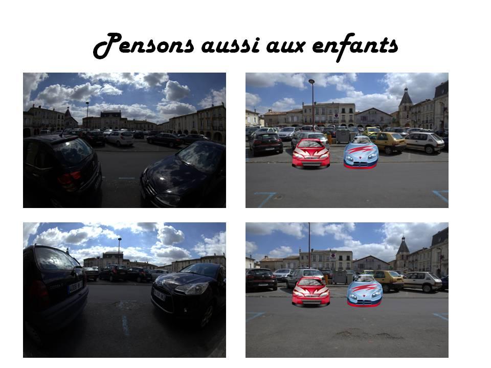 Stationnement Place de la Prévôté, Créon. Photos couleurs : Mairie de Créon / Christian Coulais