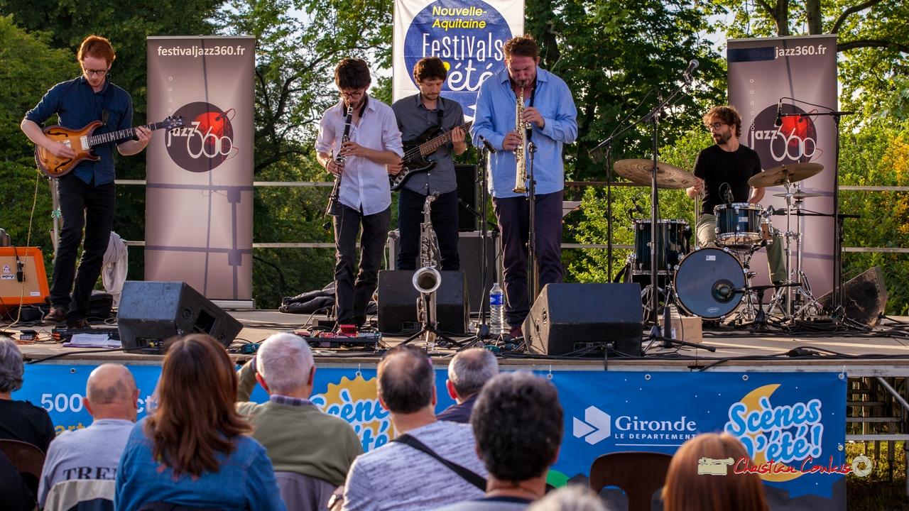 Oggy & The Phonics: Théo Duboule, Clément Meunier, Gaspard Collin, Louis Billette, Marton Kiss. Festival JAZZ360 2018, Langoiran. 07/06/2018