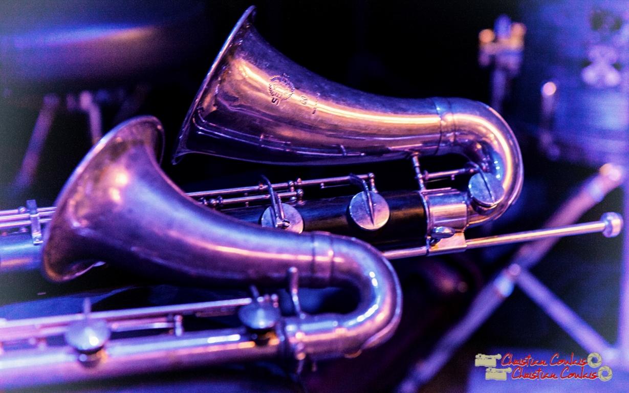 Clarinette alto métal (avant), clarinette basse sib (arrière) de Fred Pouget. Festival JAZZ360 2018, Cénac. 09/06/2018