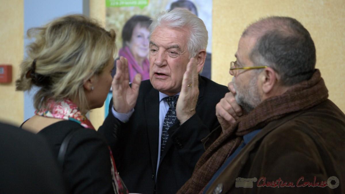 """Philippe Madrelle, Sénateur, Président du Conseil général de la Gironde. Meeting """"Majorité départementale"""" aux élections départementales de la Gironde, Blasimon, 9 mars 2015"""