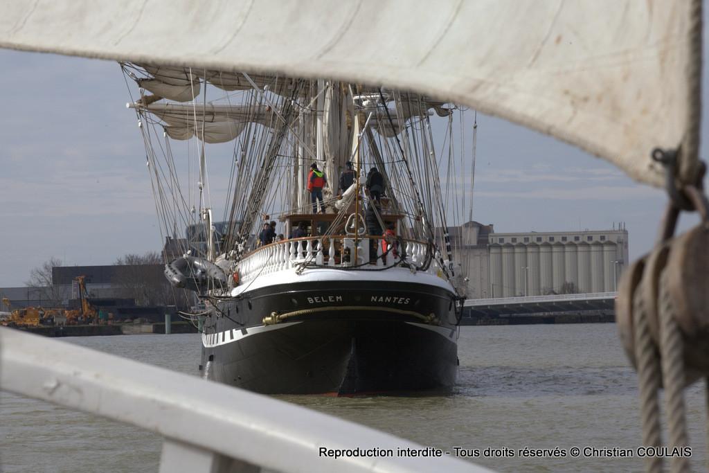 Le Belem. Inauguration du Pont Jacques Chaban-Delmas à bord de la gabarre les Deux Frères. Bordeaux, Le 16 mars 2013
