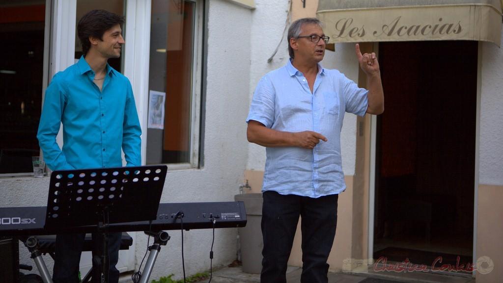 Festival JAZZ360 2015, Richard Raducanu, Président de JAZZ360, présente Phil Gueguen. Cénac, 12 juin 2015