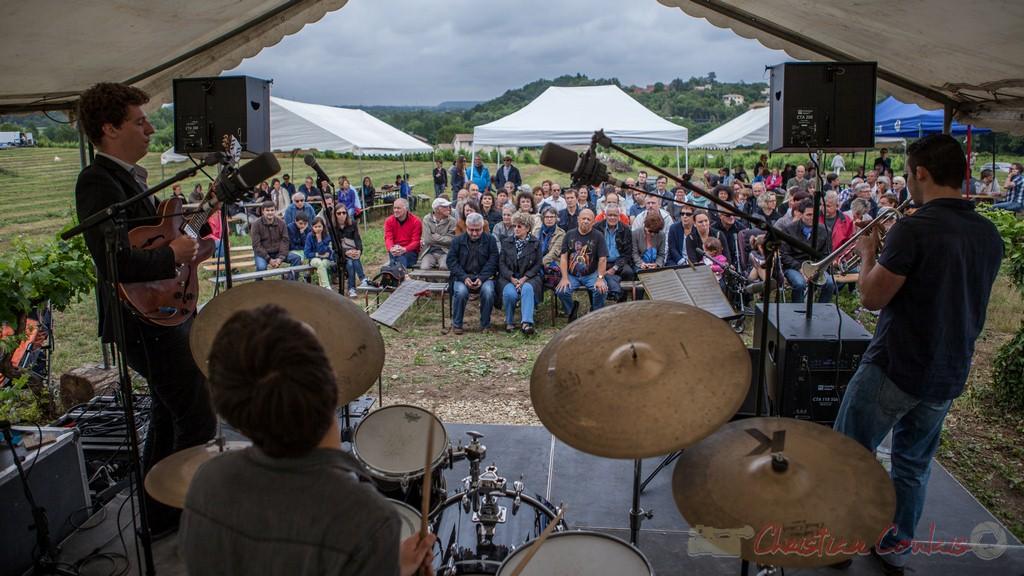 Isotope Trio et un public conquis. Festival JAZZ360 2015, Château Lestange, Quinsac