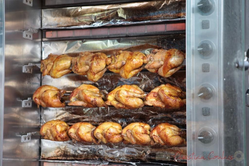 Vente de poulets grillés à emporter, Marché de Créon, Gironde