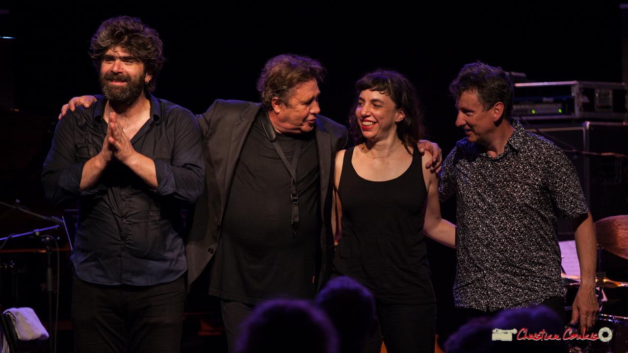 """Standing ovation for Louis Sclavis Quartet """"Characters on a wall"""", Benjamin Moussey, Louis Sclavis, Sarah Murcia, François Merville. Festival JAZZ360 2018, Cénac. 08/06/2018"""