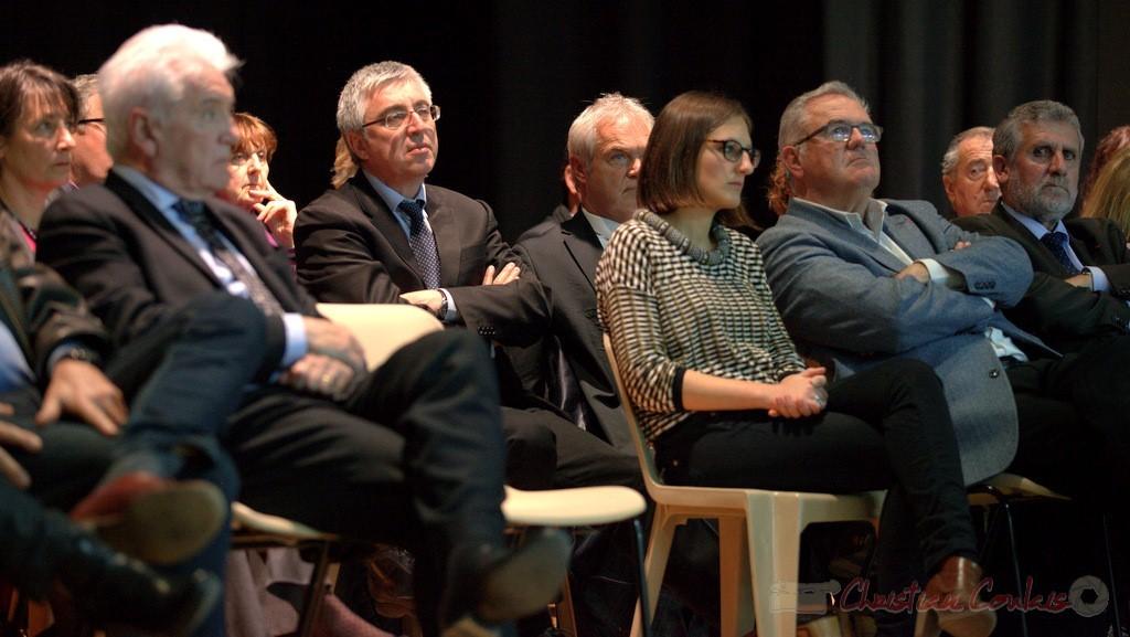 """Hervé Gillé, Camille Hollebecque, Jean-Marie Darmian, Alain David. Meeting """"Majorité départementale"""" aux élections départementales de la Gironde, Blasimon, 9 mars 2015"""