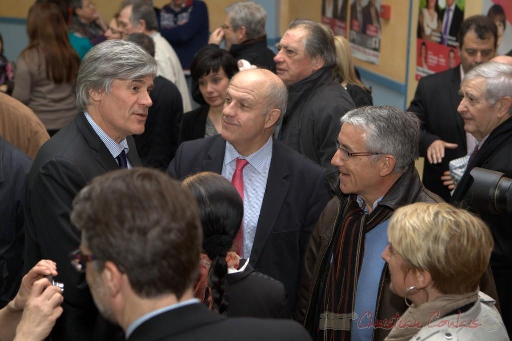 """Stéphane le Foll, Gilles Savary, Bernard Castagnet. Meeting """"Majorité départementale"""" aux élections départementales de la Gironde, Blasimon, 9 mars 2015"""
