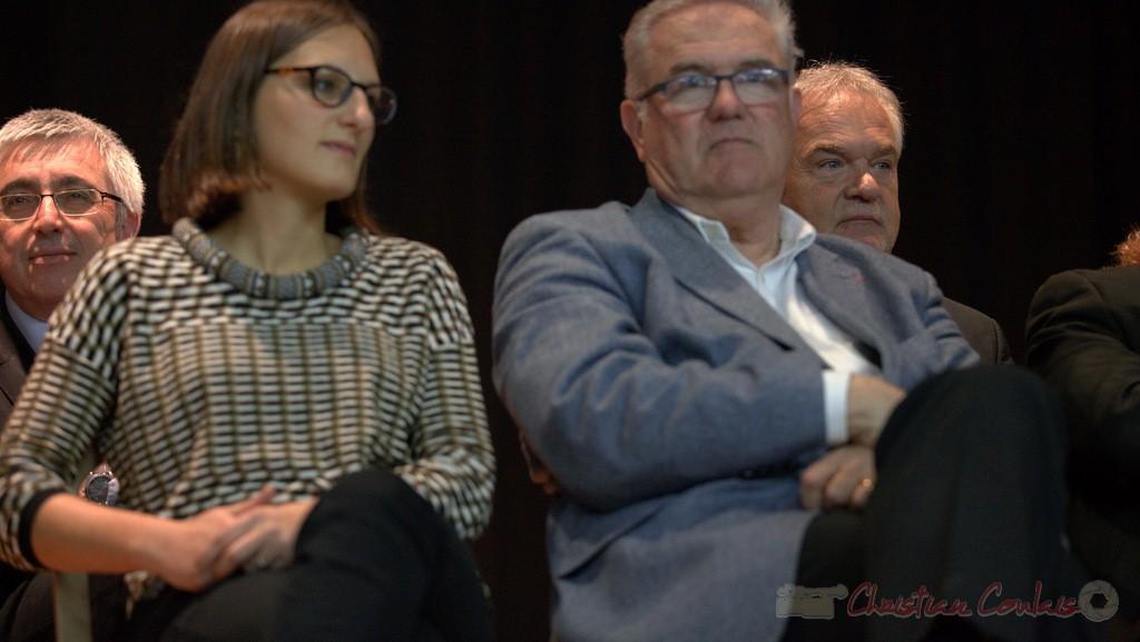 """Hervé Gillé, Camille Hollebecque, Jean-Marie Darmian. Meeting """"Majorité départementale"""" aux élections départementales de la Gironde, Blasimon, 9 mars 2015"""