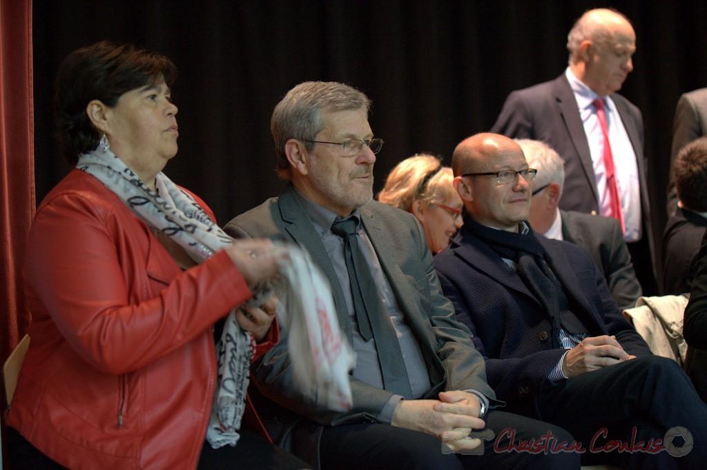 """Marie-Claude Agulana, Guy Moreno, Jean-Luc Gleyze. Meeting """"Majorité départementale"""" aux élections départementales de la Gironde, Blasimon, 9 mars 2015"""