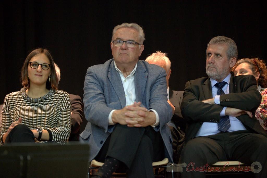 """Camille Hollebecque, Jean-Marie Darmian, Alain David. Meeting """"Majorité départementale"""" aux élections départementales de la Gironde, Blasimon, 9 mars 2015"""