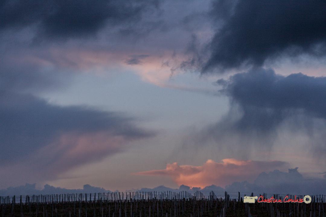 Panorama depuis le Haut-Langoiran au soleil couchant. Mer. 3 avril 2019
