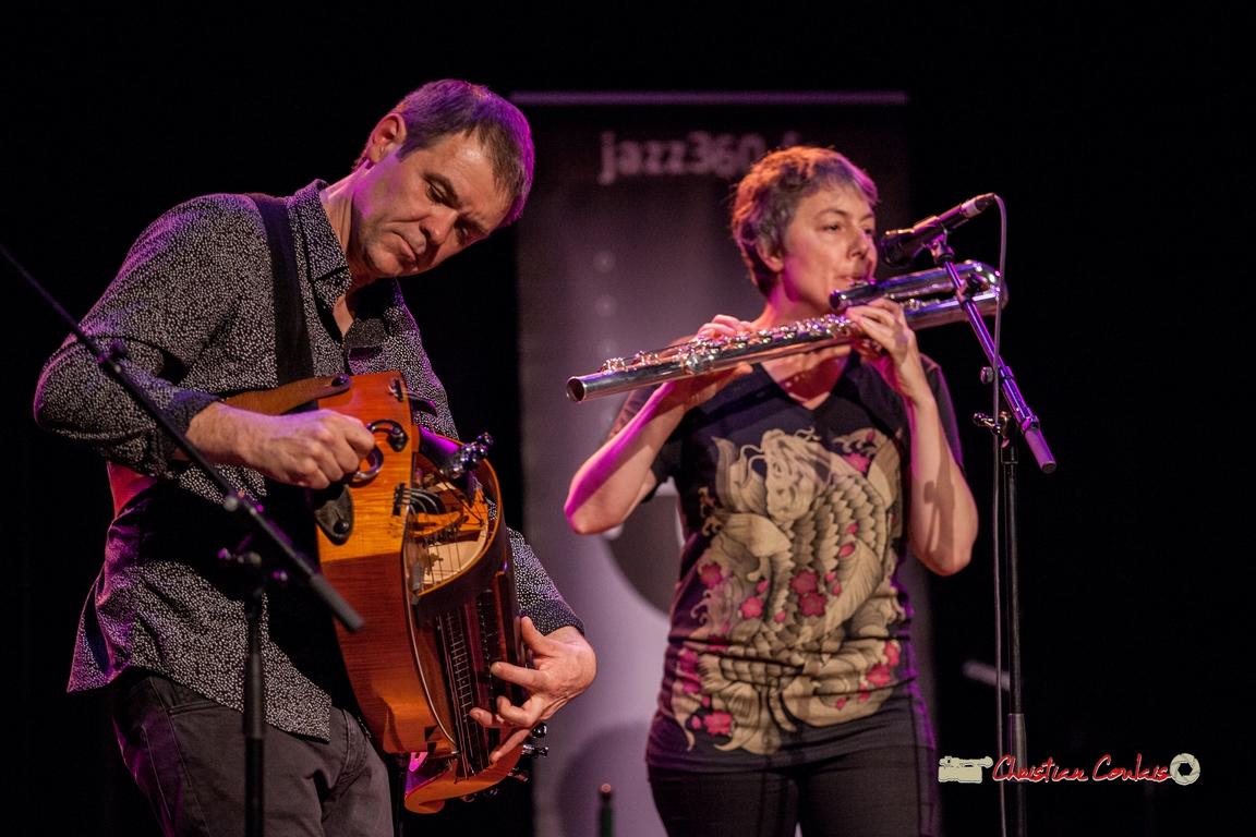 Gilles Chabanat, vielle électroacoustique; Anne Colas, flûte basse en ut; Clax Quartet. Festival JAZZ360 2018, Cénac. 09/06/2018