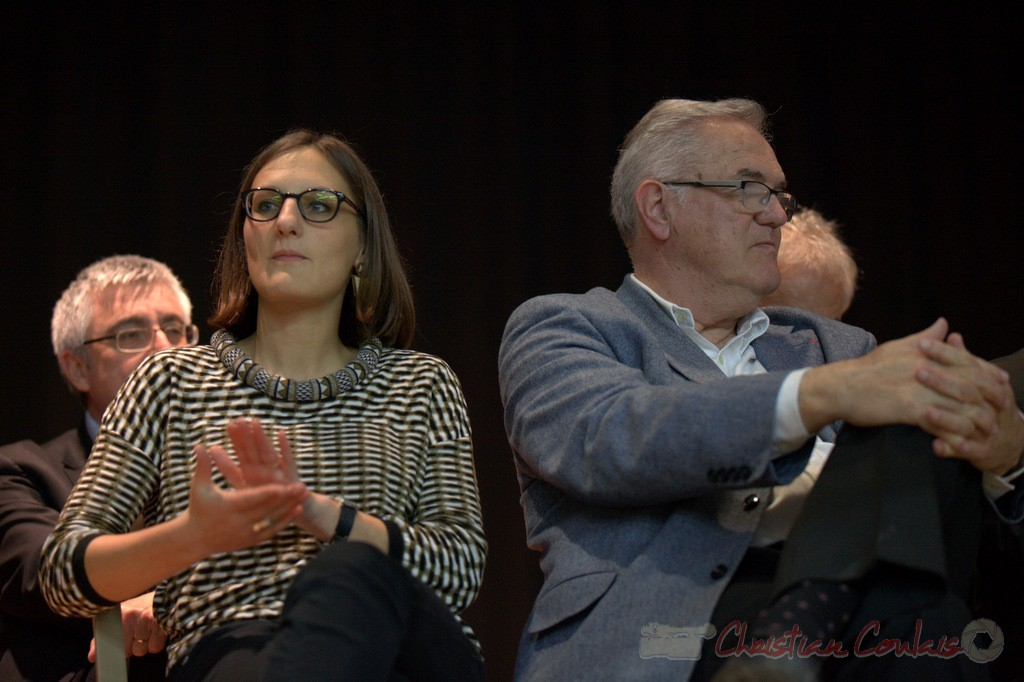 """Camille Hollebecque, Jean-Marie Darmian. Meeting """"Majorité départementale"""" aux élections départementales de la Gironde, Blasimon, 9 mars 2015"""