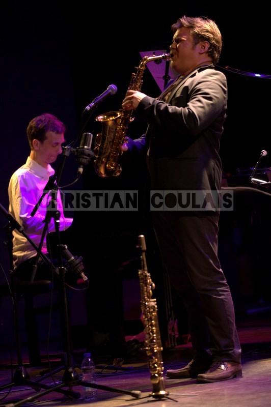Pierre de Bethmann, Baptiste Herbin; Baptiste Herbin Quartet feat André Ceccarelli, Festival JAZZ360 2014, Cénac. 07/06/2014n