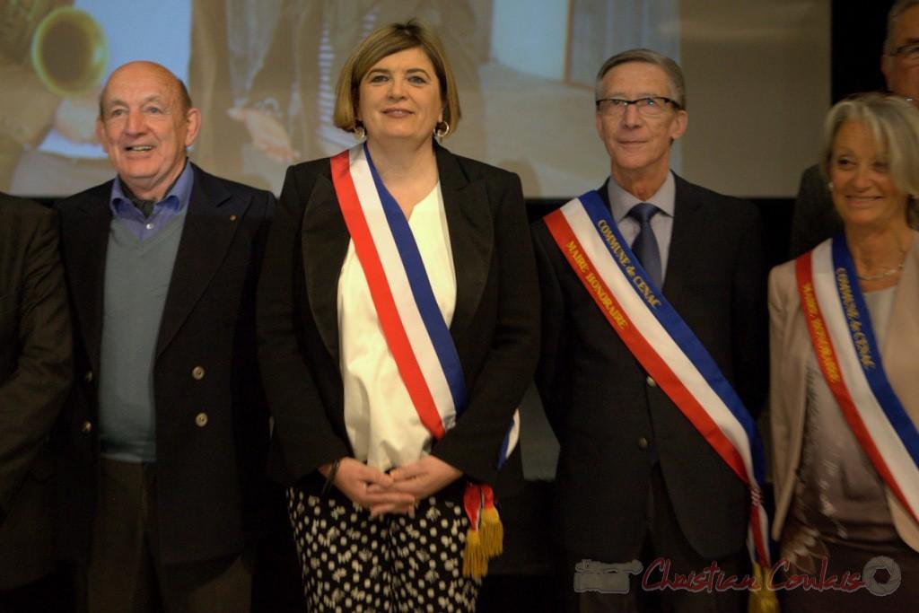 Catherine Veyssy, Maire, Pierre Heugas, Simone Ferrer, Gérard Pointet, Maires honoraires de Cénac; vendredi 3 avril 2015