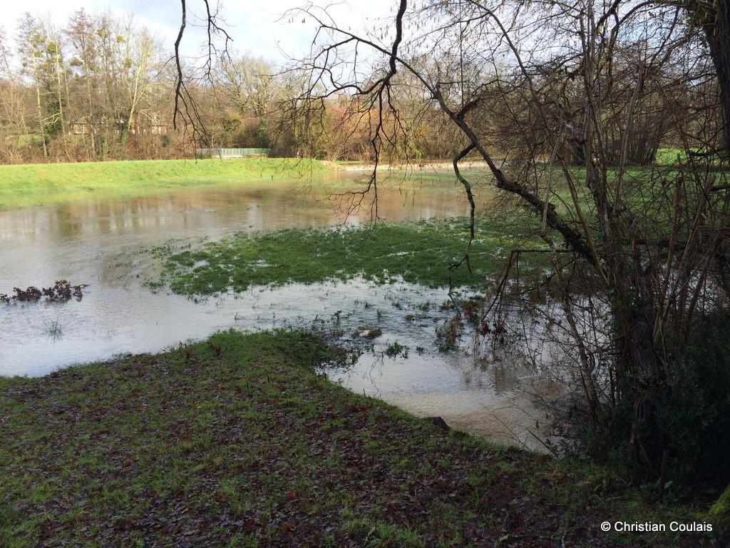 Crue de la Pimpine, bassin de rétention, Cénac, Gironde