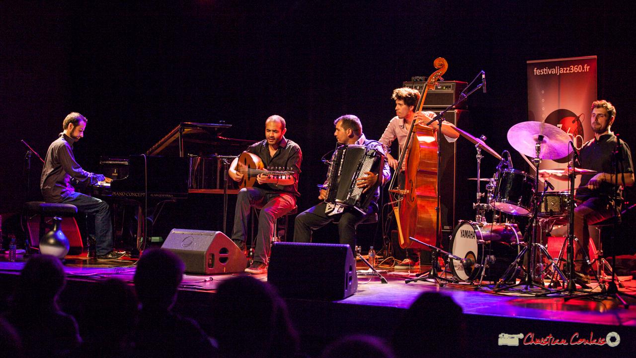 Eym Trio; Elie Dufour, piano; Mohamed Abozekry, oud; Marian Badoï, accordéon; Yann Phayphet, contrebasse; Marc Michel, batterie. Festival JAZZ360, Cénac, 9 juin 2017