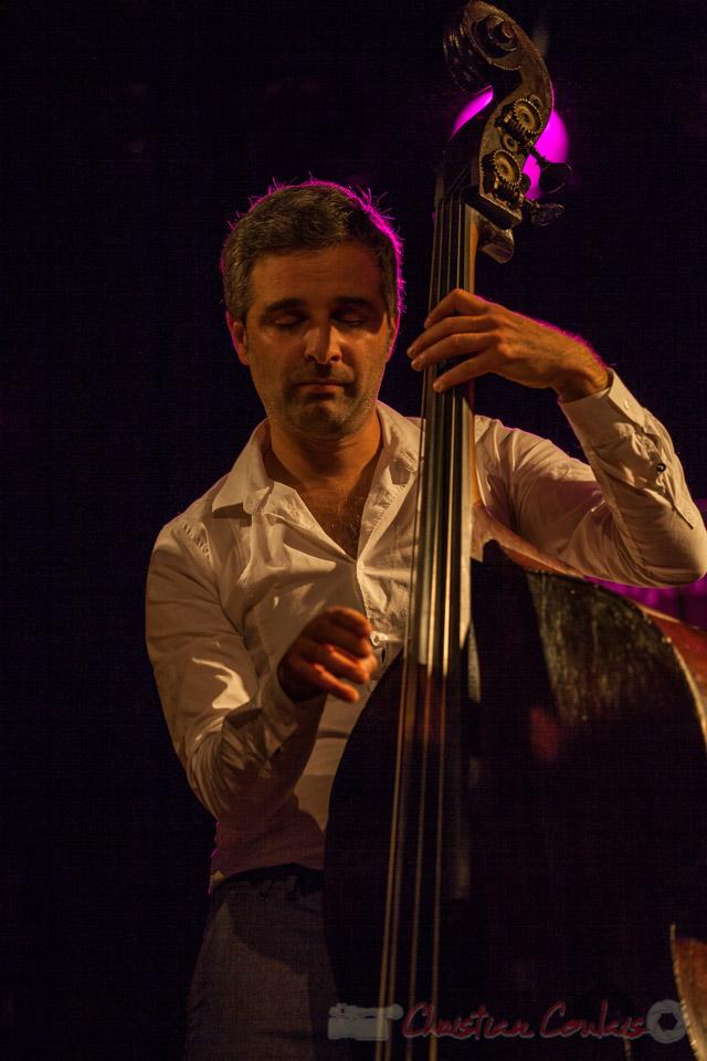 Trio Marcelle, Laurent Vanhée, contrebassiste. Soirée Cabaret JAZZ360, Cénac, 05/11/2016