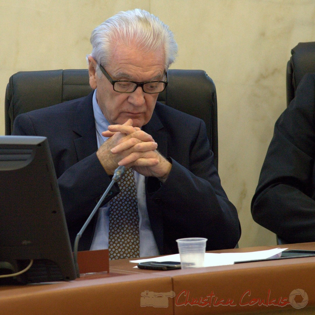 Philippe Madrelle, président du Conseil départemental de la Gironde. Hôtel du département, 19 décembre 2014