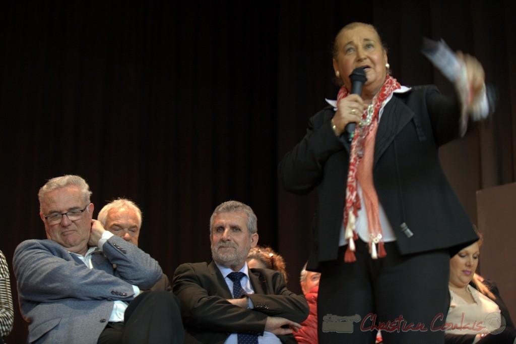 """Martine Faure, Députée de la Gironde. Meeting """"Majorité départementale"""" aux élections départementales de la Gironde, Blasimon, 9 mars 2015"""