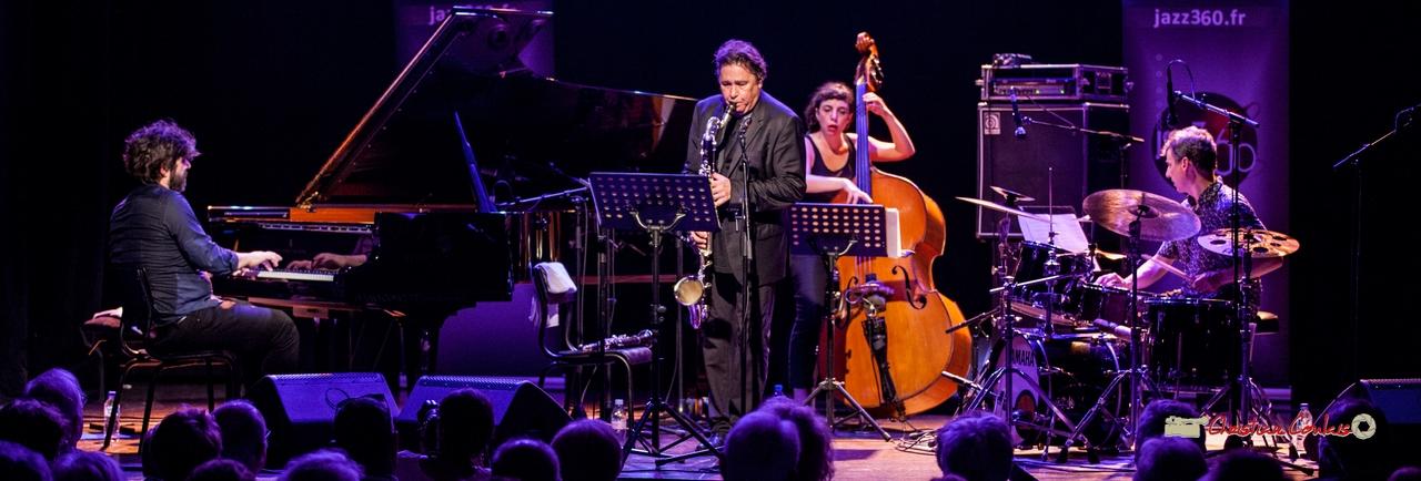 """Louis Sclavis Quartet """"Characters on a wall"""" : Benjamin Moussey, Louis Sclavis, Sarah Murcia, François Merville. Festival JAZZ360 2018, Cénac. 08/06/2018"""