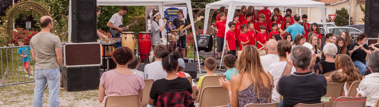 Applaudissement du public. Chorale de l'école du Tourne & Big Band Jazz du Collège Eléonore de Provence. Festival JAZZ360 2018, Cénac. 08/06/2018