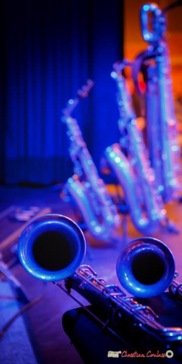 Clarinette basse (gauche), clarinette alto métal (droit) de Fred Pouget. Festival JAZZ360 2018, Cénac. 09/06/2018