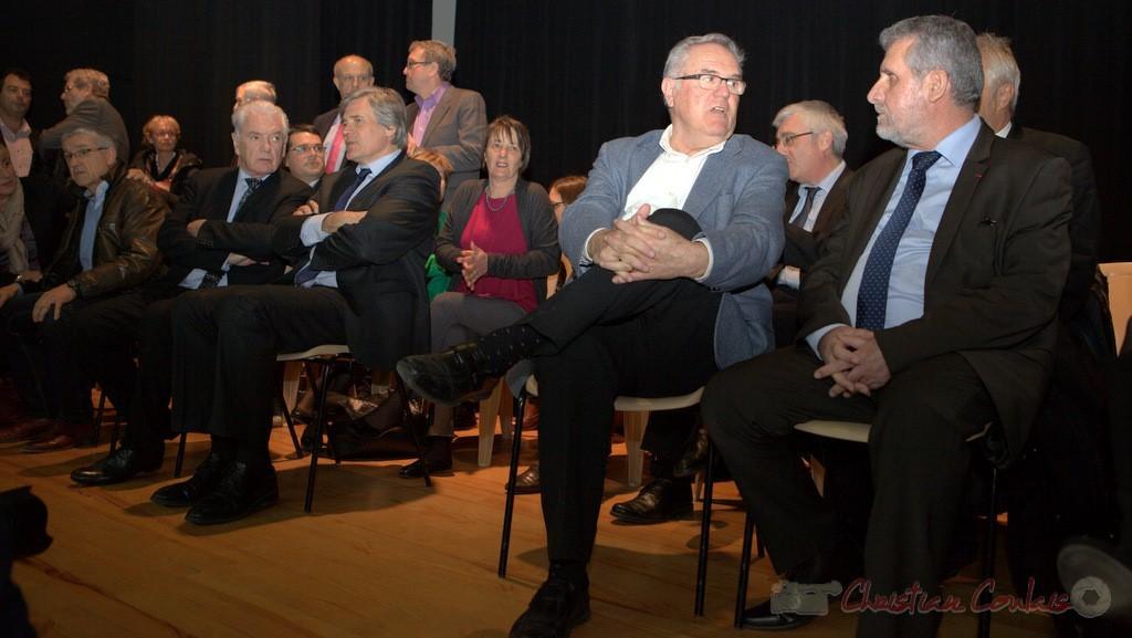 """Philippe Madrelle, Stéphane Le Foll, Jean-Marie Darmian, Alain David. Meeting """"Majorité départementale"""" aux élections départementales de la Gironde, Blasimon, 9 mars 2015"""
