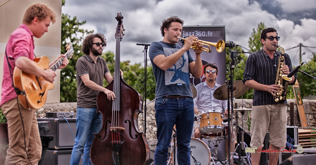 Thomas Gaucher, Louis Laville, Louis Gachet, Nicolas Girardi, Mathis Polack; Atelier Jazz du Conservatoire Jacques Thibaud de Bordeaux. Festival JAZZ360 2018, Quinsac. 10/06/2018