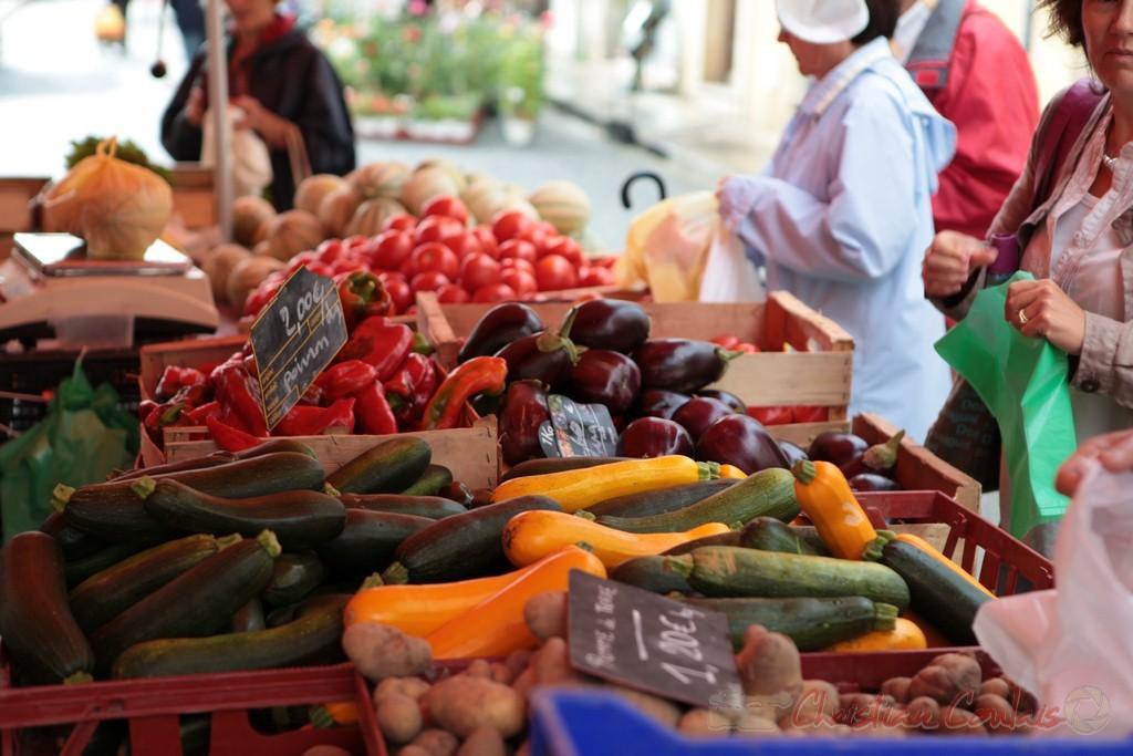 Stand de légumes, Marché de Créon, Gironde