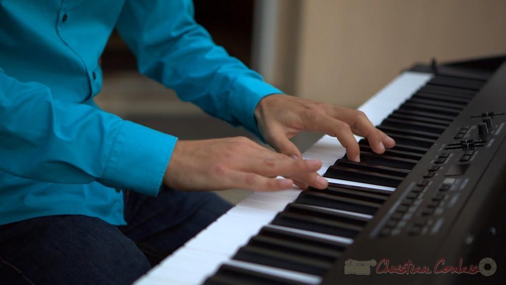 Détail du jeu de mains. Festival JAZZ360 2015, Phil Gueguen. Cénac, 12 juin 2015 2/5