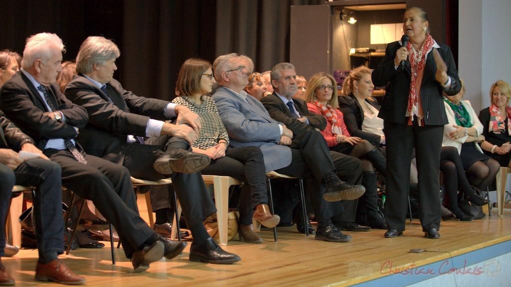 """Prise de parole de Martine Faure, Députée de la Gironde. Meeting """"Majorité départementale"""" aux élections départementales de la Gironde, Blasimon, 9 mars 2015"""