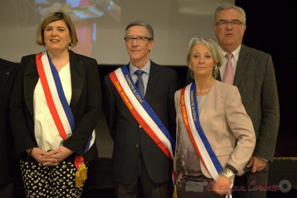 Catherine Veyssy, Gérard Pointet, Simone Ferrer, Jean-Marie Darmian. Honorariat des anciens maires de Cénac; vendredi 3 avril 2015