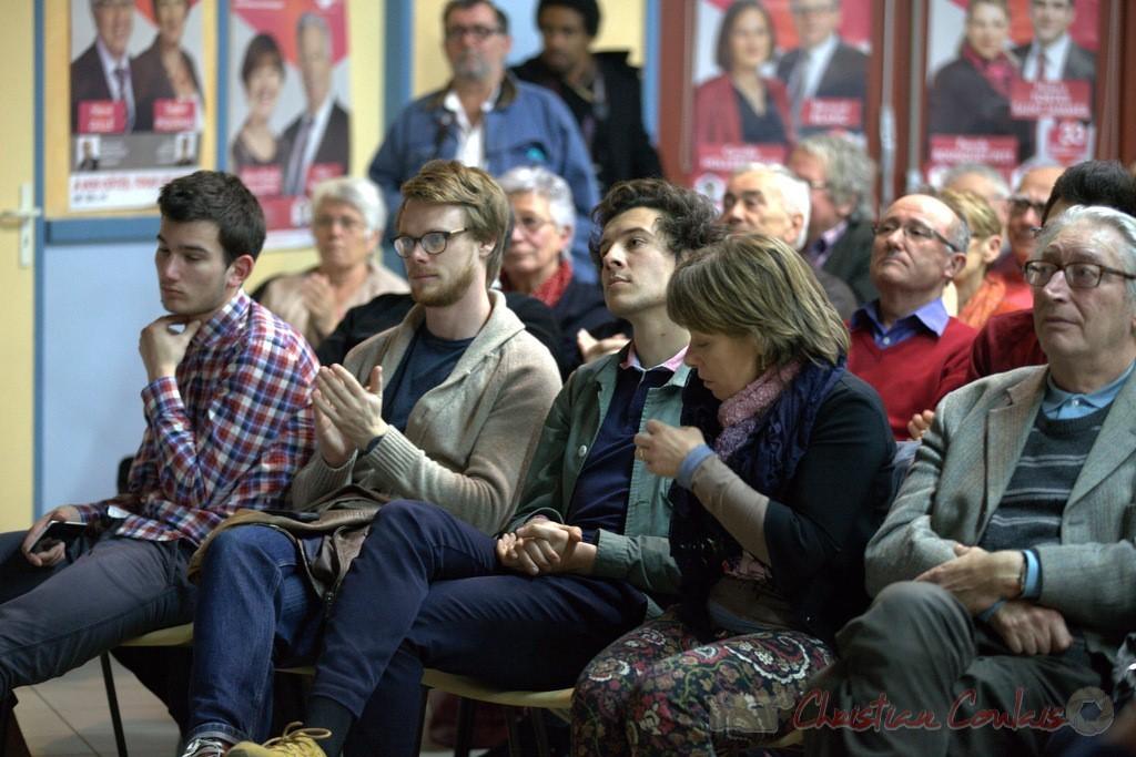 """Salle des Fêtes de Blasimon. Meeting """"Majorité départementale"""" aux élections départementales de la Gironde, Blasimon, 9 mars 2015"""