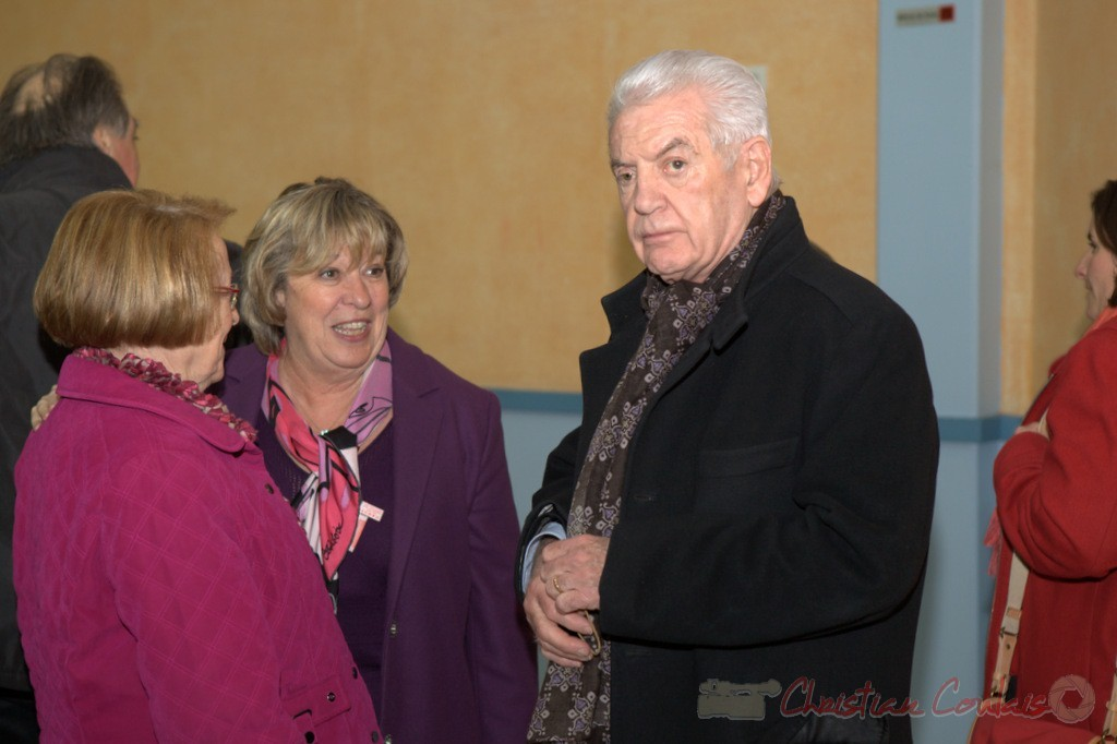 """Françoise Cartron, Philippe Madrelle. Meeting """"Majorité départementale"""" aux élections départementales de la Gironde, Blasimon, 9 mars 2015"""