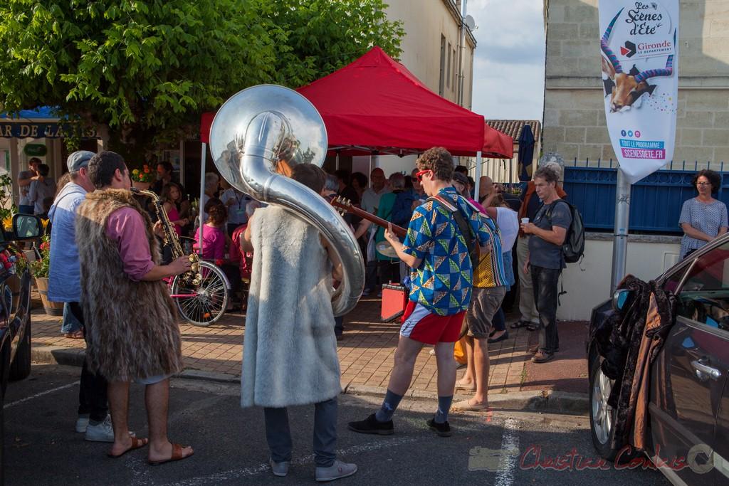 Inauguration avec Elephant Brass Machine et vin d'honneur offert par la Mairie. Festival JAZZ360 2015, Cénac