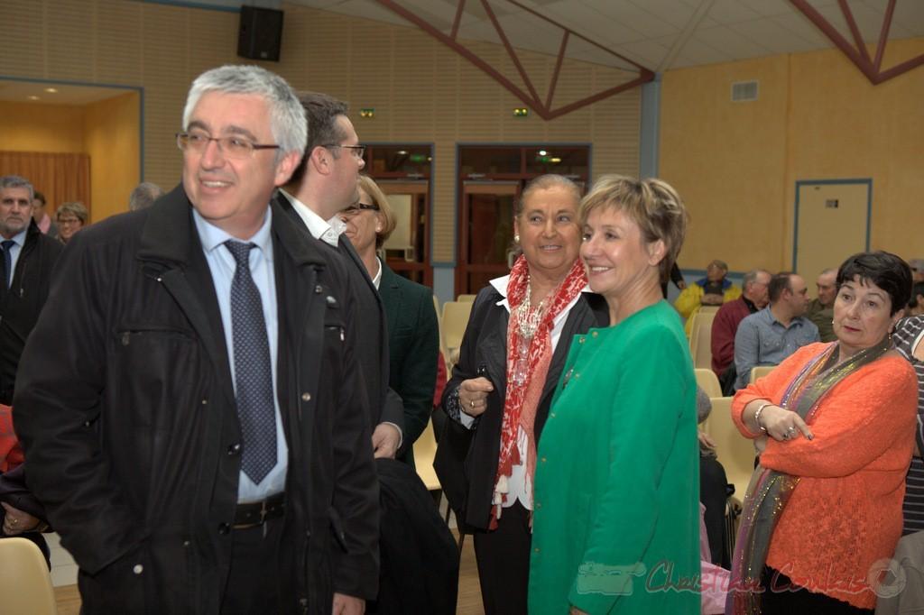 """Hervé Gillé, Dominique Fedieu, Martine Faure, Pascale Got. Meeting """"Majorité départementale"""" aux élections départementales de la Gironde, Blasimon, 9 mars 2015"""