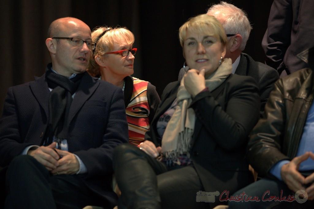 """Jean-Luc Gleyze, Isabelle Dexpert. Meeting """"Majorité départementale"""" aux élections départementales de la Gironde, Blasimon, 9 mars 2015"""