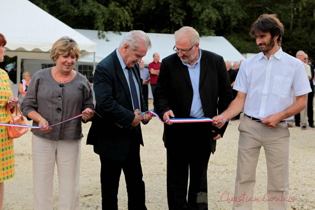 Françoise Cartron, Philippe Madrelle, Président du Conseil général de la Gironde inaugurent le bassin de rétention de la Pimpine, aux abords le piste Roger Lapébie, Cénac