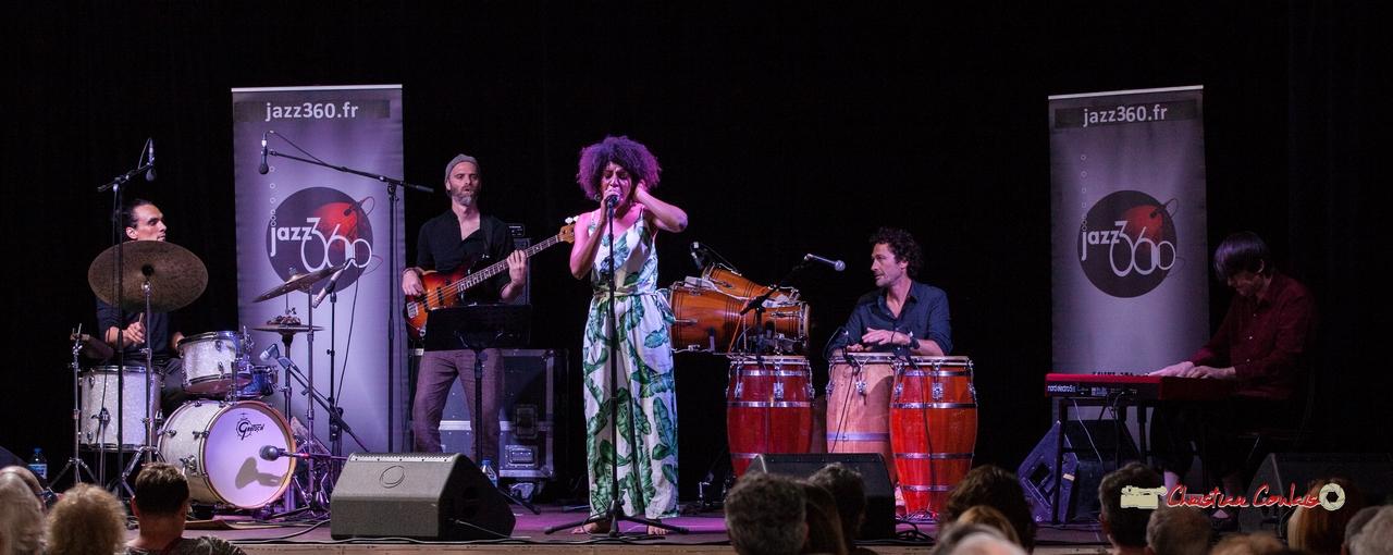 Mayomi Moreno Project : Gaétan Diaz, Thomas Labadens, Mayomi Moreno, Lionel Galletti, Michaël Geyre. Festival JAZZ360 2018, Latresne. 10/06/2018