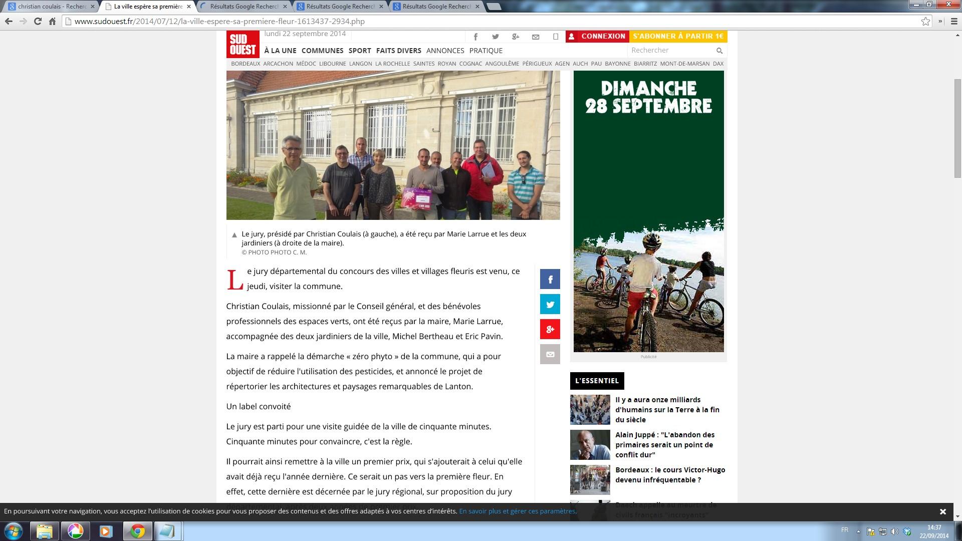 C. Coulais, organisateur-photographe avec le Jury départemental des Villes et Villages Fleuris, 22 septembre 2014