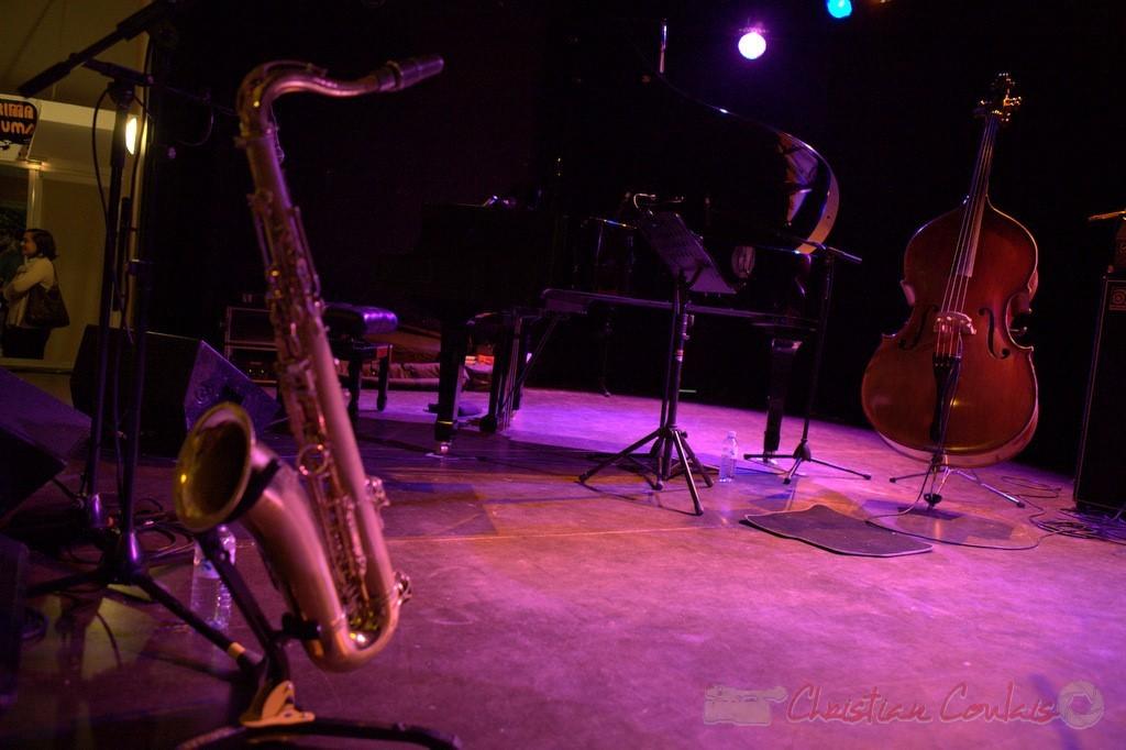 Saxophone de Frédéric Borey, contebasse de Nolwenn Leizour. Festival JAZZ360 2012, salle culturelle de Cénac. 08/06/2012