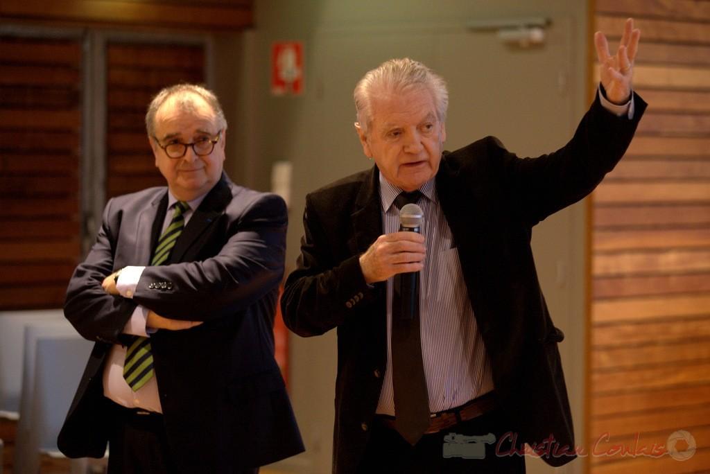 Bernard Cuartero, Président de la Communauté de Communes des Portes de l'Entre-Deux-Mers, Philippe Madrelle, Président du Conseil général de la Gironde. 9 juin 2012
