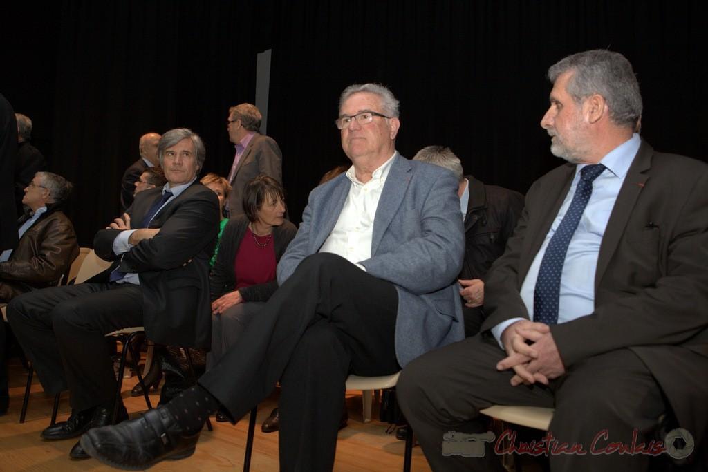 """Stéphane Le Foll, Jean-Marie Darmian, Alain David. Meeting """"Majorité départementale"""" aux élections départementales de la Gironde, Blasimon, 9 mars 2015"""