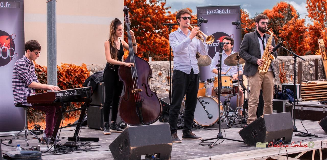 Robin Magord, Laure Sanchez, Paolo Chatet, Nicolas Girardi, Jonathan Bergeron; Atelier Jazz du Conservatoire Jacques Thibaud de Bordeaux. Festival JAZZ360 2018, Quinsac. 10/06/2018