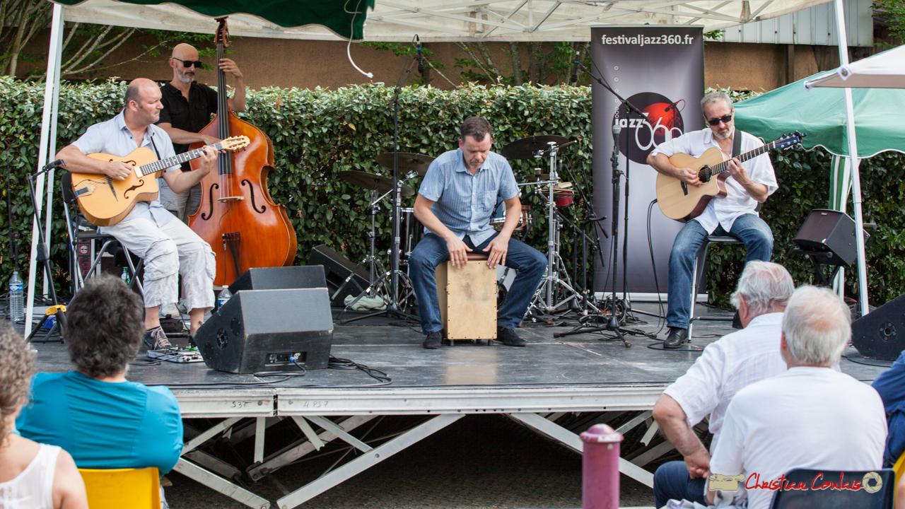 Cyril Salvagnac, Fabrice Camboulive, Laurent Meyer au cajon, Christophe Gruel; Mystèretrio Quartet. Festival JAZZ360, Latresne, 11 juin 2017
