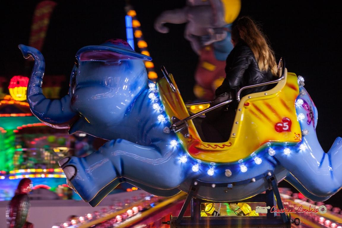 """""""Jumbo surgit VI"""" Foire aux plaisirs & attractions foraines, Bordeaux, mercredi 17 octobre 2018. Reproduction interdite - Tous droits réservés © Christian Coulais"""