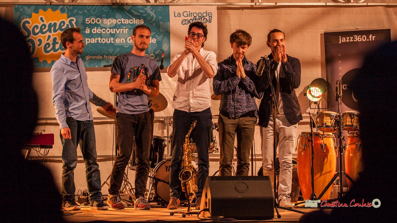 """""""Ovation debout"""" du public pour Félix Joveniaux, Romann Dauneau, Adrien Brandéis, Joachim Poutaraud, Philippe Ciminato; Adrien Brandéis Quintet, Festival JAZZ360 2019, Langoiran. 06/06/2019"""