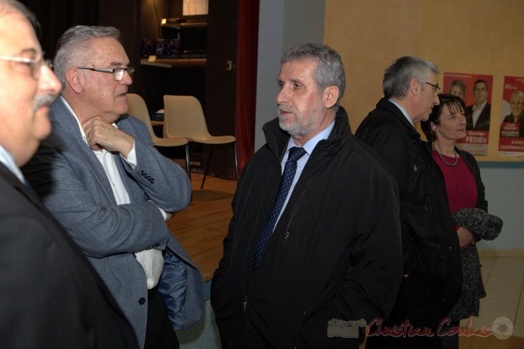 """Jean-Marie Darmian, Alain David. Meeting """"Majorité départementale"""" aux élections départementales de la Gironde, Blasimon, 9 mars 2015"""